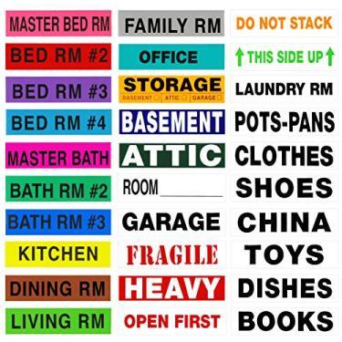 Imagem de Etiqueta A-Room 2650 etiquetas móveis codificadas por cores, o melhor pacote Mega Move, 50 etiquetas diferentes (espaços de estar, alertas, conteúdo) 4-5 Quartos, Moving Supplies