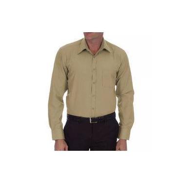 Camisa Social Masculina Bom Pano Manga Longa Lisa Bege de6fdf3833b86