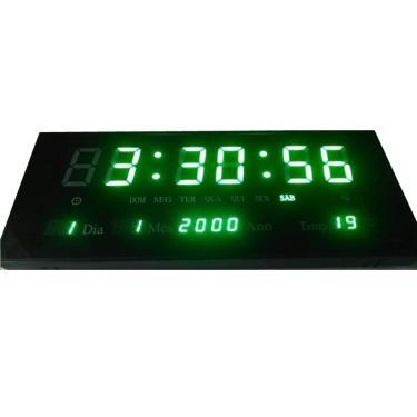 3d9f6b30244 Relógio Parede Led Verde Digital Calendário Termometro 36cm
