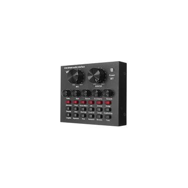 V8 Audio Mixer Placa de Som USB Headset Microfone Webcast Placa de Som ao Vivo para Computador Laptop