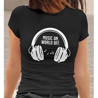 Camiseta Baby Look Musica ON Mundo OFF Feminino Preto Tamanho:G