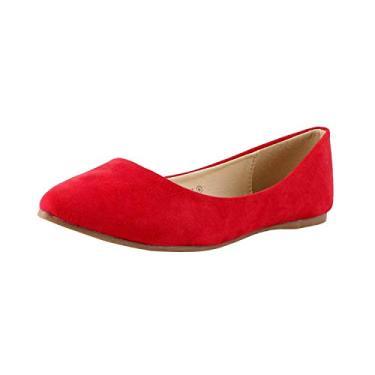 Bella Marie Angie-53 sapatilha feminina clássica de bico fino, Vermelho, 8