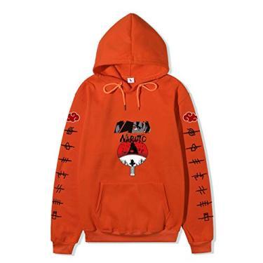 SAFTYBAY Novo moletom com capuz Naruto para homens e mulheres, adolescentes Naruto mangá suéter anime suéteres com bolso frontal grande, Laranja, XXL