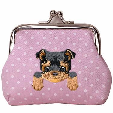 [YORKSHIRE TERRIER] Carteira de moedas com fivela de cachorro bordada fofa, rosa, Small