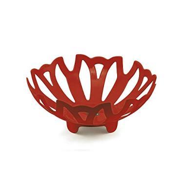 Fruteira Vermelha Travessa Tigela Vazada Plus Plástico