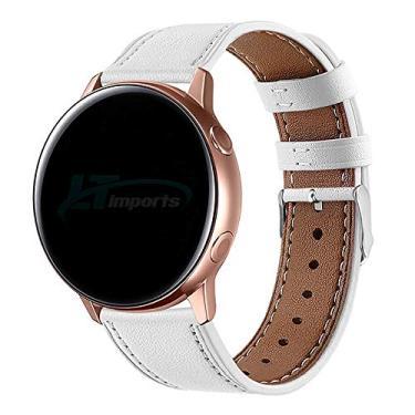 Pulseira de Couro 20mm para Samsung Galaxy Watch Active 40mm 44mm - Galaxy Watch 3 41mm - Galaxy Watch 42mm - Amazfit Bip - Amazfit GTR 42mm - Marca LTIMPORTS (Branco)