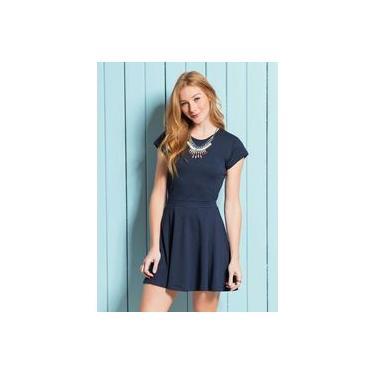 Vestido Curto GODÊ Cinturado Jacquard Azul Marinho Plus Size