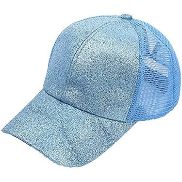 Boné de beisebol unissex com emendas de malha envelhecido alto rabo-de-cavalo sujo chapéu de sol, E-blue, One Size