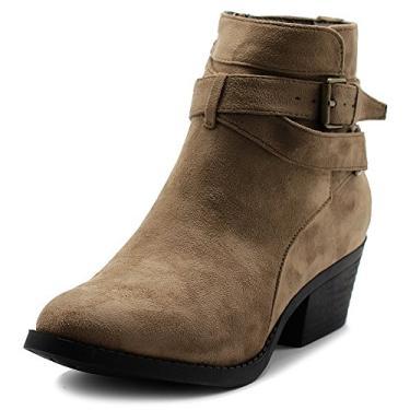 Bota feminina Ollio de camurça sintética com fivela, salto empilhado, bota até o tornozelo, Taupe, 10