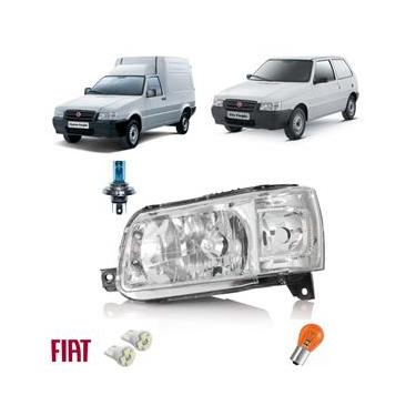 Farol Dianteiro Uno 12 Novo Fiat + Lâmpadas Led Dir