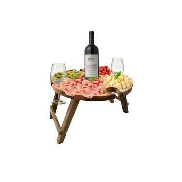 Imagem de Petisqueira, Tábua Para Frios Porta Taças E Vinho Em Madeira