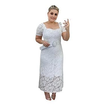 Imagem de Vestido Midi em Renda Casamento Civil Pré Wedding Noiva Cinto Ensaio Fotos Branco (Branco, m)
