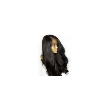Imagem de Perucas de cabelo humano para mulheres na frente da moda com onda solta e preto natural