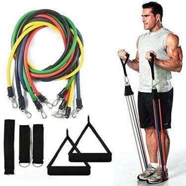 Kit Elástico para Treinos e Exercícios Fitness com 11 Peças