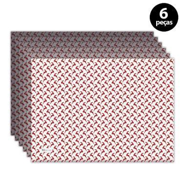 Imagem de Jogo Americano Mdecore Natal Renas 40x28 cm Branco 6pçs