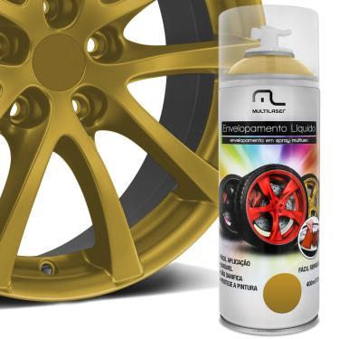 Spray Envelopamento Liquido Dourado 400ml Multilaser Au422 Multiuso Rodas Carro Moto