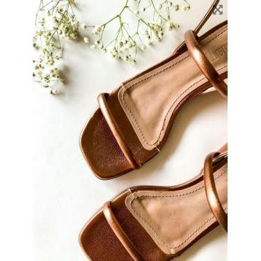Sandália Tiras Salto Baixo Amisty Material Sintético Bronze  feminino
