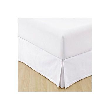 Imagem de Saia Para Cama Box Solteiro King Branca 100% Algodão - Casa & Conforto