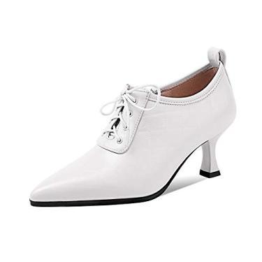 Imagem de TinaCus Sapato feminino xadrez de couro legítimo feito à mão bico fino cadarço salto médio moderno, Branco, 6.5