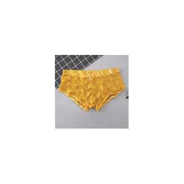Imagem de Cueca masculina de renda da moda esportiva e respirável cuecas macias e cuecas bolsa Amarelo xl