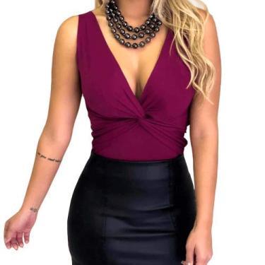 Body Bori Feminino Blusinha Decote Trançado Suplex Regata Tamanho Unico (Vinho)