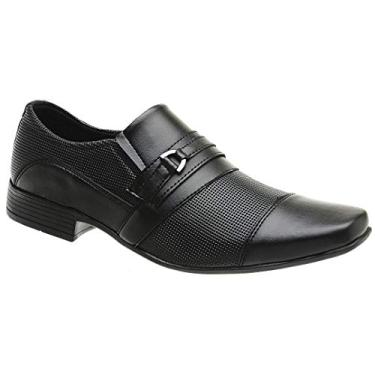 Sapato Social Masculino Moderno Conforto Leve Bico Quadrado Cor:Preto;Tamanho:43