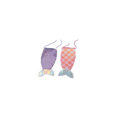 2pcs cauda bonito Peixe design de ombro Bolsa adorável Lantejoula saco do telefone de moda infantil Saco da moeda menina Storage Bag Bolsa portátil (violeta e laranja, 1 peça de cada cor)