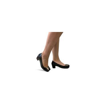 Imagem de Sapato Feminino Salto Baixo Médio Grosso Confortável 4042 - Preto/Branco