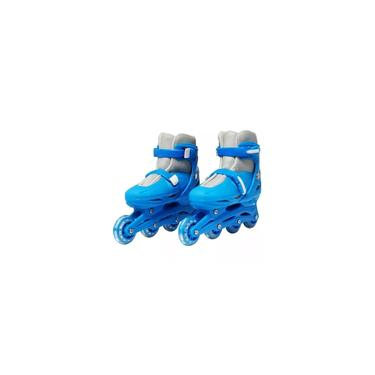 Imagem de Importway Patins 4 Rodas Azul Masculino Infantil Adulto Inline Bw018az