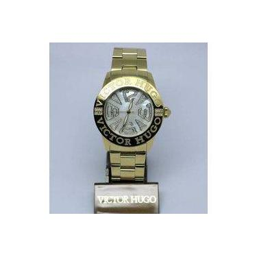 cada05c29ac Relógio Feminino Victor Hugo Vh10119lsg 28m Redondo Dourado
