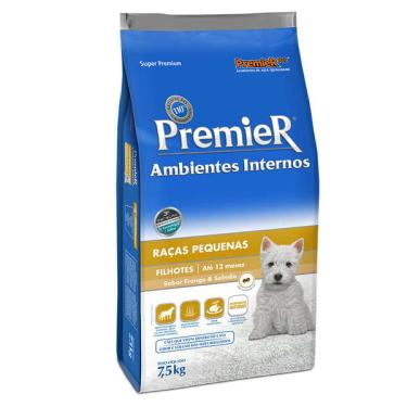 Ração Premier Pet Ambientes Internos Cães Filhotes Frango e Salmão - 7,5 Kg