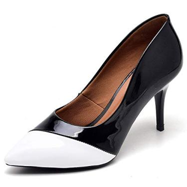 Sapato Scarpins Feminino Salto Medio Verniz Preto detalhe branco (34)