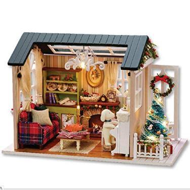 """Kit de casa """"faça você mesmo"""" em miniatura, quarto criativo, casa de madeira, brinquedo artesanal, modelo com luz LED, para meninas, crianças, presentes de Natal, brinquedo criativo, lindo estilo retrô"""