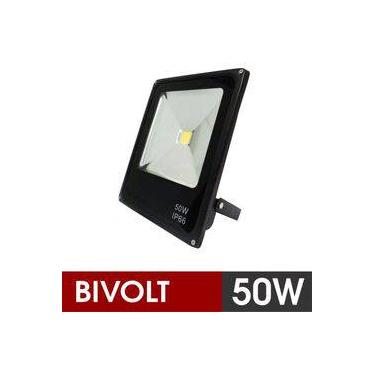 Holofote Refletor Super Led 50W Bivolt Luz Branco Frio Bivolt