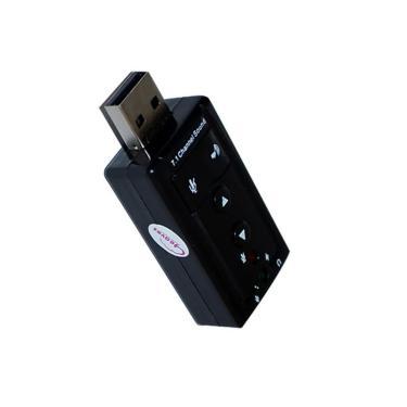 Placa de Som Externa USB - Som Virtual 7.1 e Microfone - AD0021