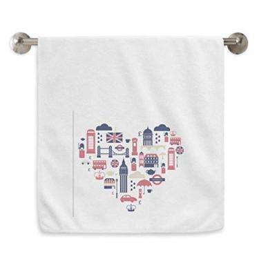Imagem de DIYthinker Toalha de mão Heart London Bridge UK Big Ben Toalha de mão Toalha de banho de algodão macio