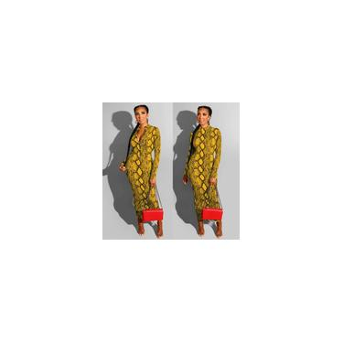Vestido feminino de manga longa com estampa de cobra com zíper em ambos os lados vestido bodycon