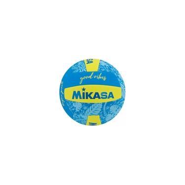 Imagem de Bola Volei Good Vibes Mikasa Volleyball Praia Amarela E Azul