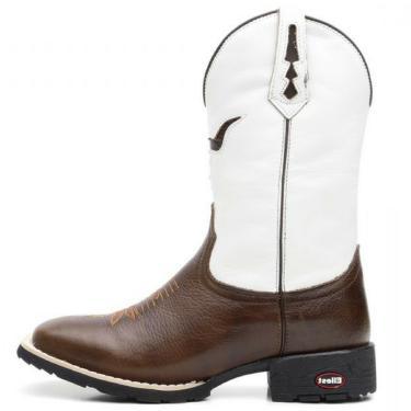 81b1861596 Bota Ellest Texana Branco Com Pitstop Bico Quadrado 02145 . Marrom masculino