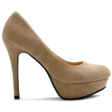 Sapato feminino Ollio plataforma de salto alto de camurça sintética multicolorida, Bege, 7.5