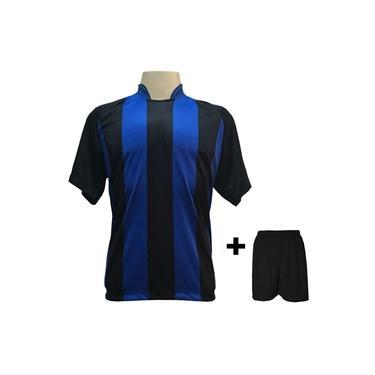 Imagem de Uniforme Esportivo com 18 camisas modelo Milan Preto/Royal + 18 calções modelo Madrid + 1 Goleiro +
