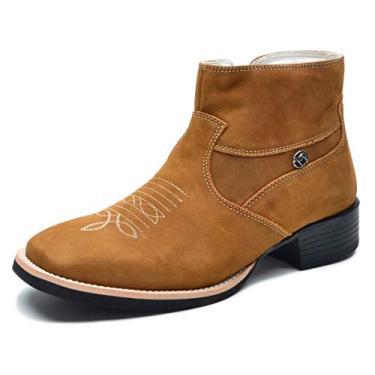 bota masculina, cano curto, bico quadrado, estilo texana em legitimo couro bovino tipo nobuck, modelo V5057 37 ao 44 (40, nob castor)