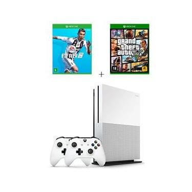Console Xbox One S 1tb Branco com 2 Controles + Fifa 19 + Grand Theft Auto V