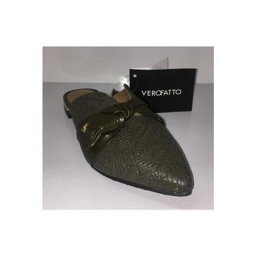 Sapato Mule Verofatto Couro Verde Militar - 6016