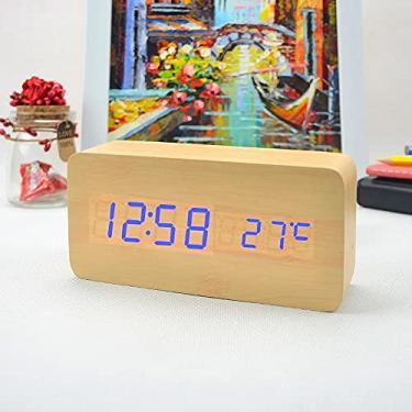 Imagem de Relógio Despertador Mesa Digital Tipo Madeira Com Sound Control 1299