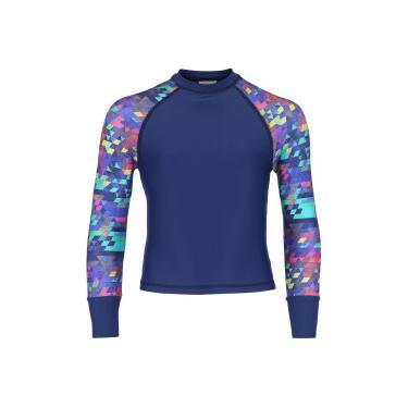 Camiseta Manga Longa com Proteção Solar UV Oxer Tetris Feminina - Infantil  - AZUL ESCURO Oxer 99a3da3e841c8