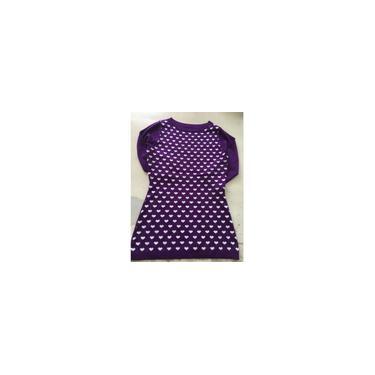 Suéter feminino com manga três quartos em formato de coração (roxo) (m)