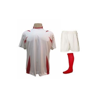 Imagem de Uniforme Esportivo Completo modelo Palermo 14+1 (14 camisas Branco/Vermelho + 14 calções Madrid Branco + 14 pares de meiões Vermelhos + 1 conjunto de goleiro) +