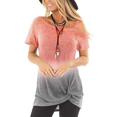 Camiseta feminina de manga curta Sxgyubt estampa gradiente verão ombro a ombro caído blusas irregulares, Laranja, X-Large