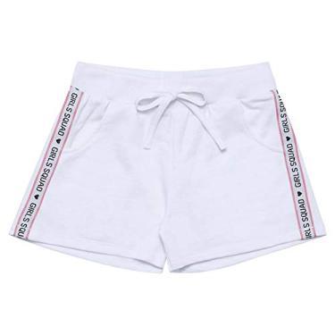 Short Branco - Infantil Menina Meia Malha 44307-3 Short Branco - Infantil Menina Meia Malha Ref:44307-3-4